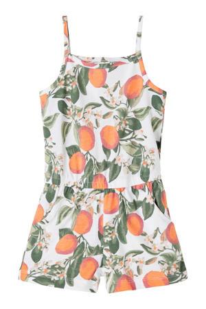 jumpsuit Vigga van biologisch katoen wit/oranje/groen