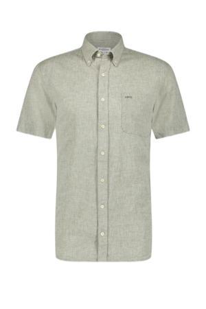 gemêleerd regular fit overhemd lichtgroen