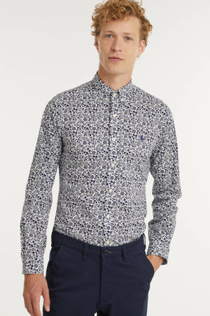 slim fit overhemd met all over print wit/donkerblauw