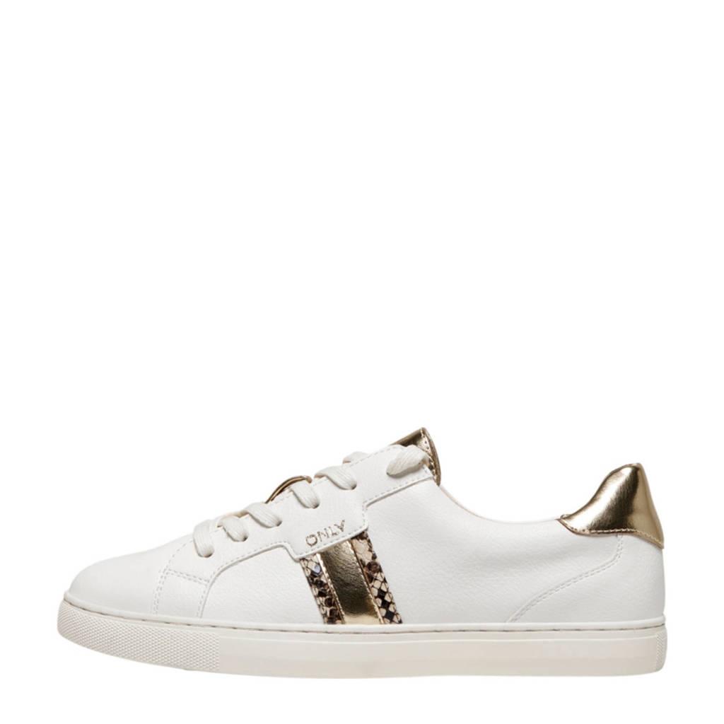 ONLY Simi  sneakers met slangenprint wit/goud, Wit/goud