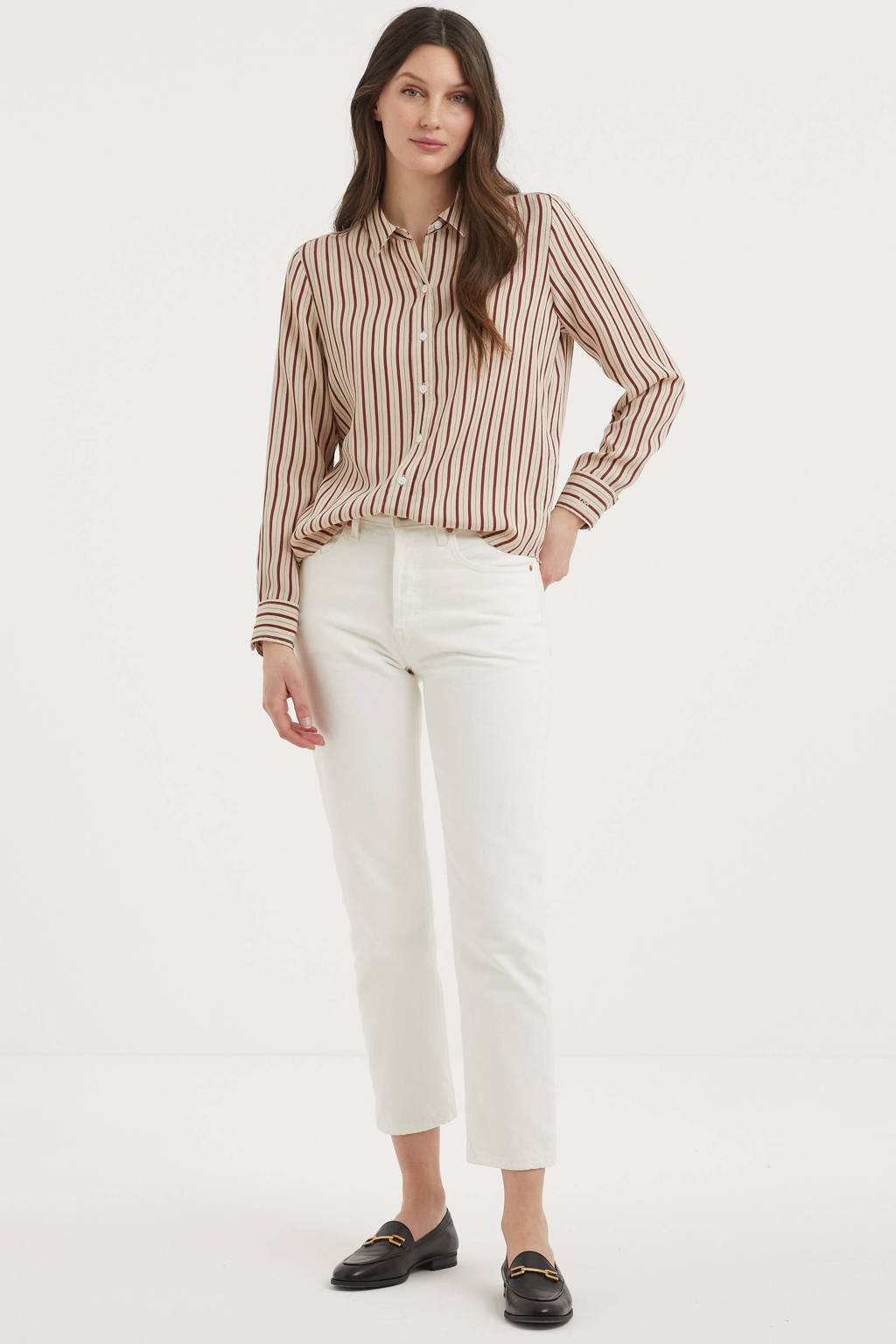 Levi's gestreepte blouse THE CLASSIC SHIRT bruin/rood, Bruin/rood