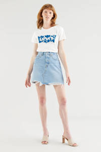 Levi's T-shirt The perfect Tee met logo wit/blauw, Wit/blauw