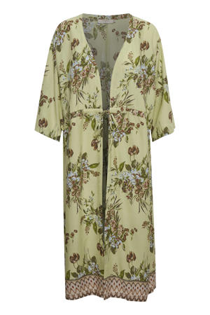 kimono met all over print groen