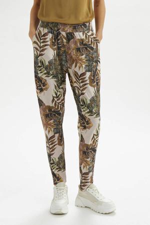 tapered fit broek met all over print groen/multi
