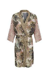 Cream kimono met all over print en ceintuur multicolor, Multicolor