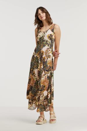 maxi jurk met all over print groen