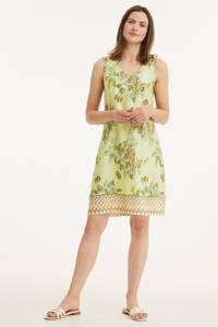 Cream jurk met all over print groen, Groen