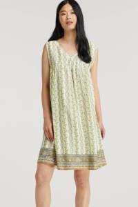Cream jurk met all over print wit/groen, Wit/groen