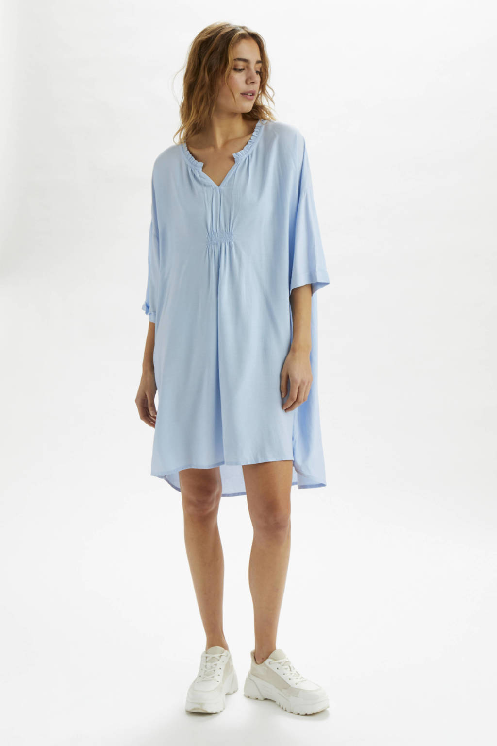 Cream jurk met ruches lichtblauw, Lichtblauw