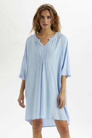 jurk met ruches lichtblauw