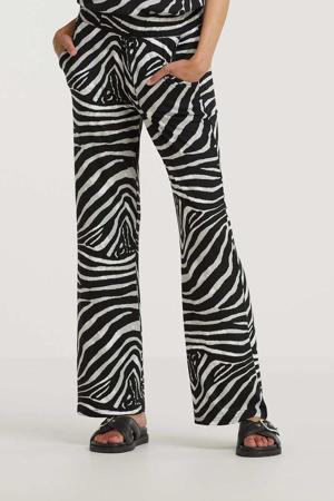 high waist loose fit palazzo broek met zebraprint zwart/wit