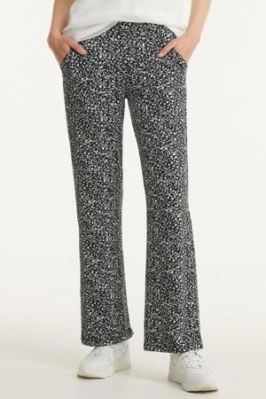 high waist loose fit palazzo broek met all over print zwart/wit