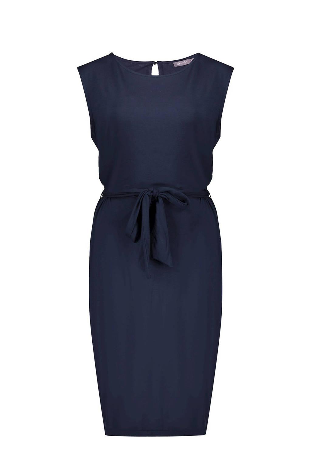 Geisha jurk SOLID met ceintuur blauw, Blauw