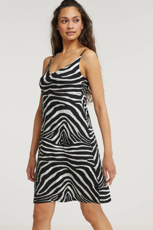 A-lijn jurk NOA met zebraprint zwart/wit