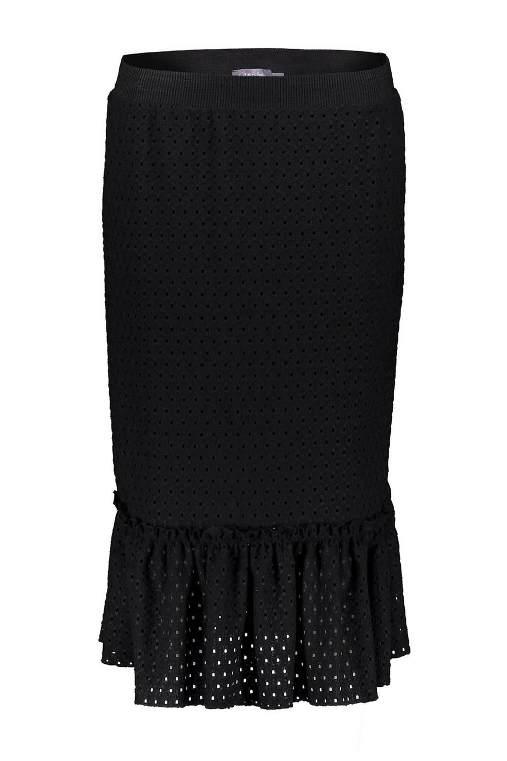 Geisha midi rok zwart, Zwart