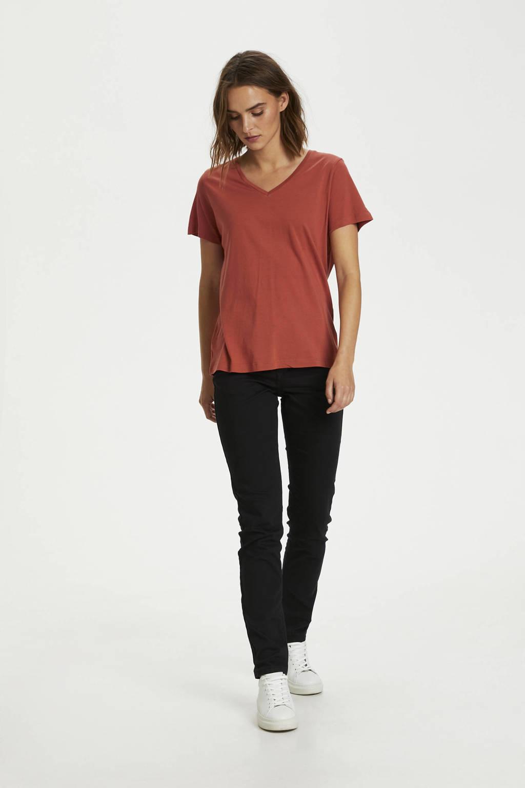 Cream T-shirt met biologisch katoen roodbruin, Roodbruin