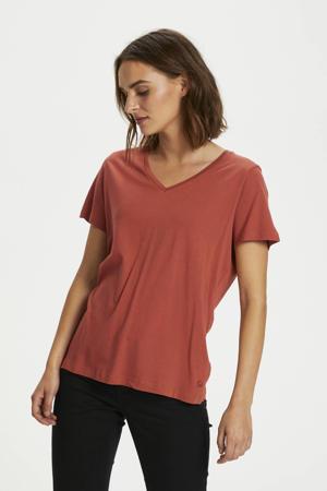 T-shirt met biologisch katoen roodbruin