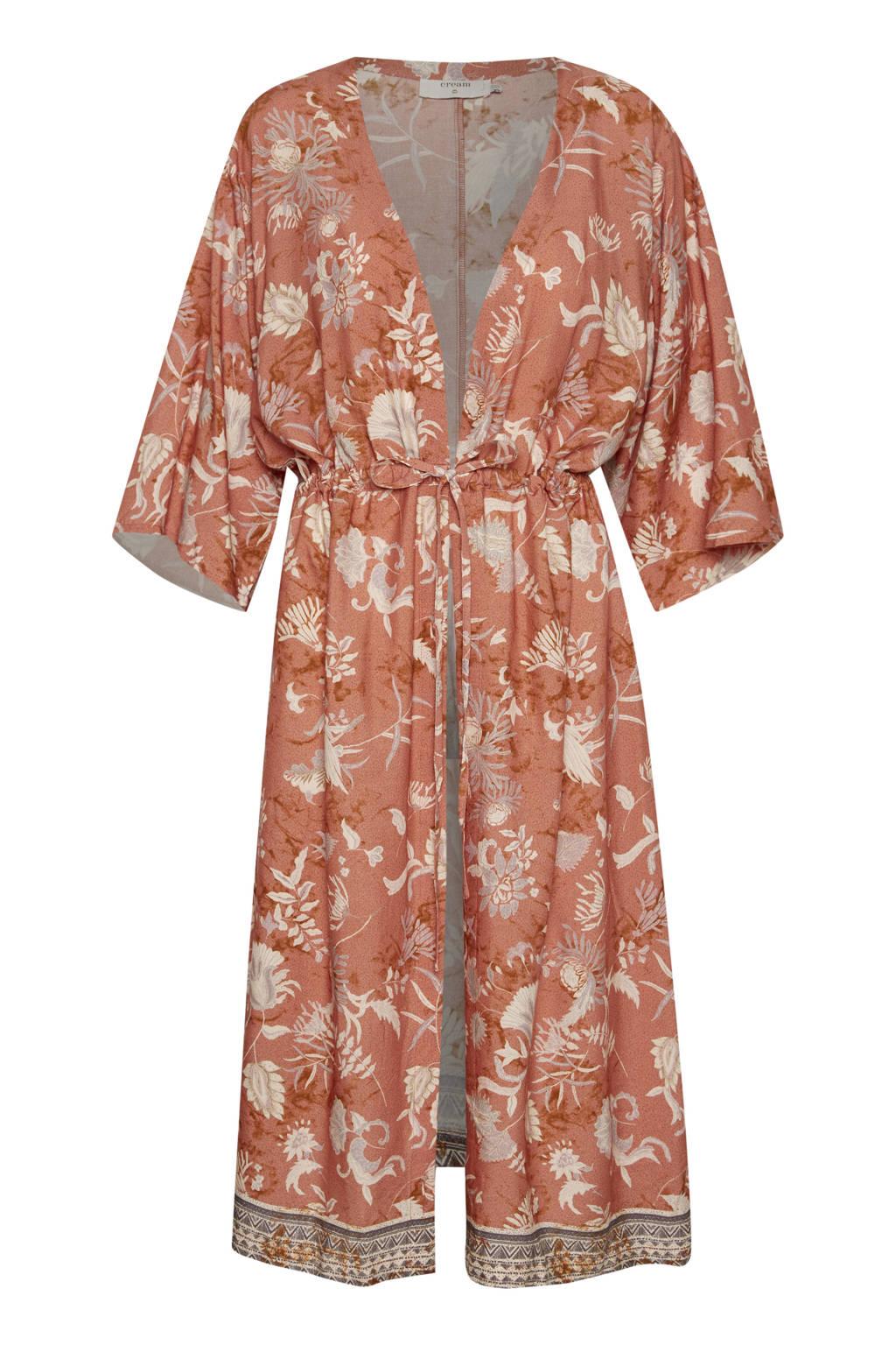 Cream kimono met all over print oranje, Oranje