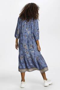 Cream trapeze jurk met all over print en ruches blauw, Blauw