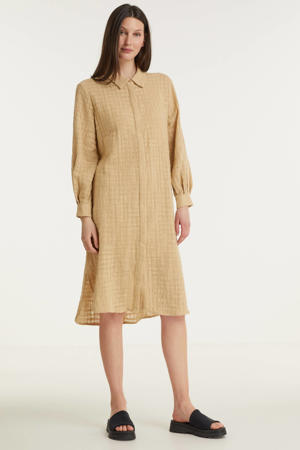 blousejurk met textuur beige