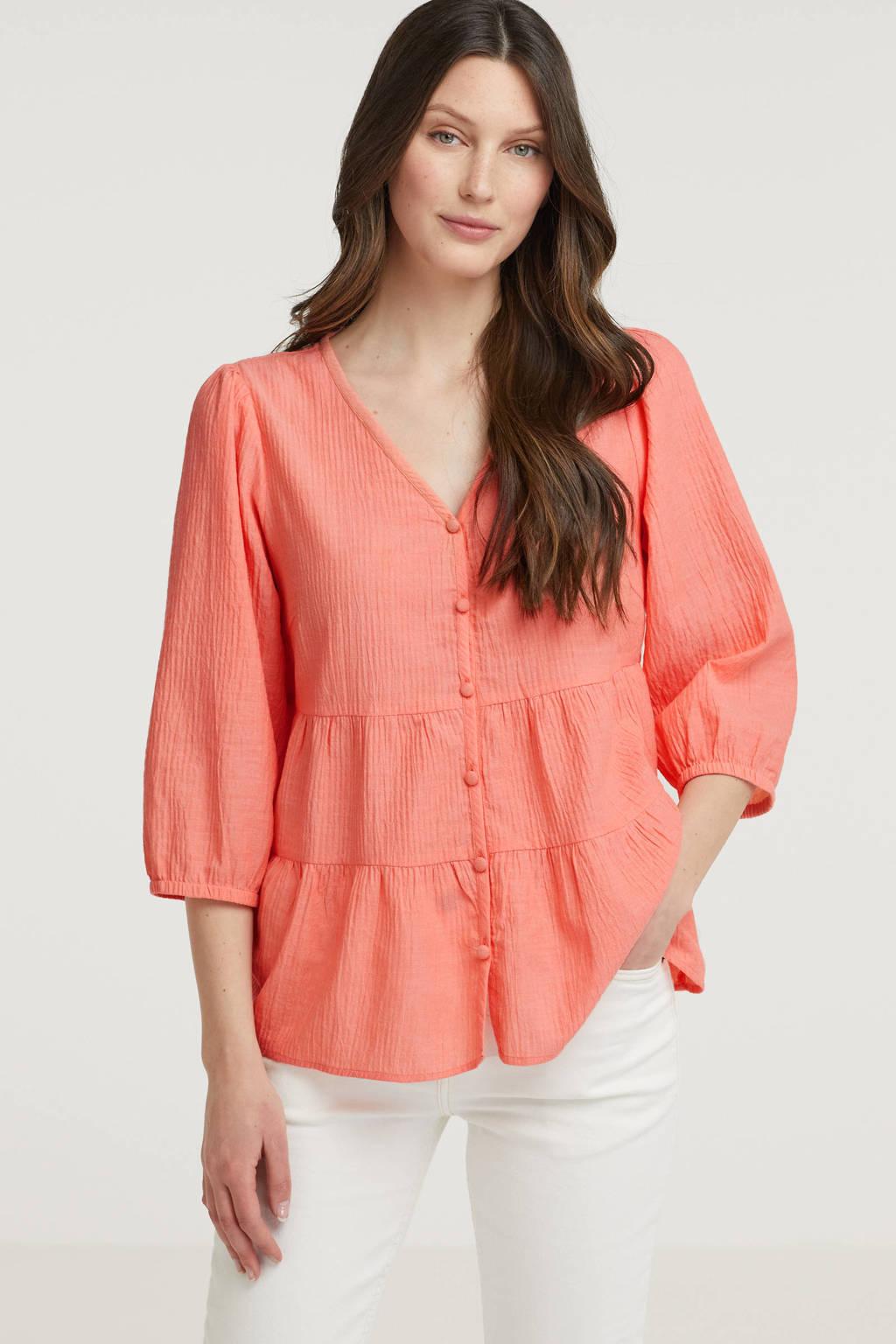 Cream blouse met plooien zalmroze, Zalmroze