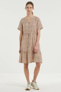 Cream trapeze jurk met all over print en plooien lichtbruin, Lichtbruin