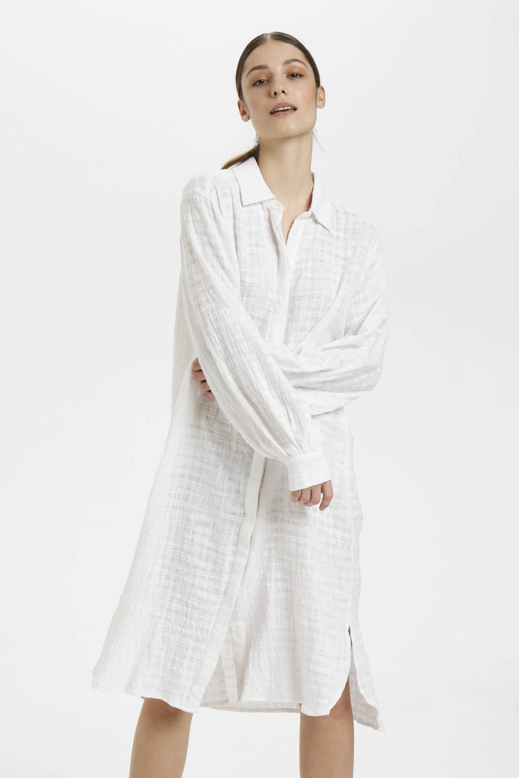 Cream blousejurk met textuur wit, Wit