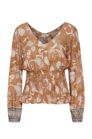 top Johui met all over print oranje