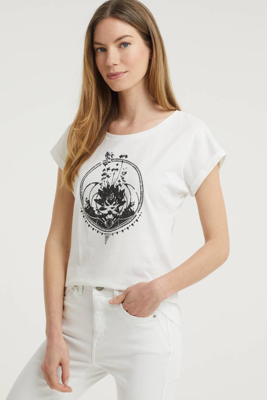Cream T-shirt met printopdruk wit, Wit