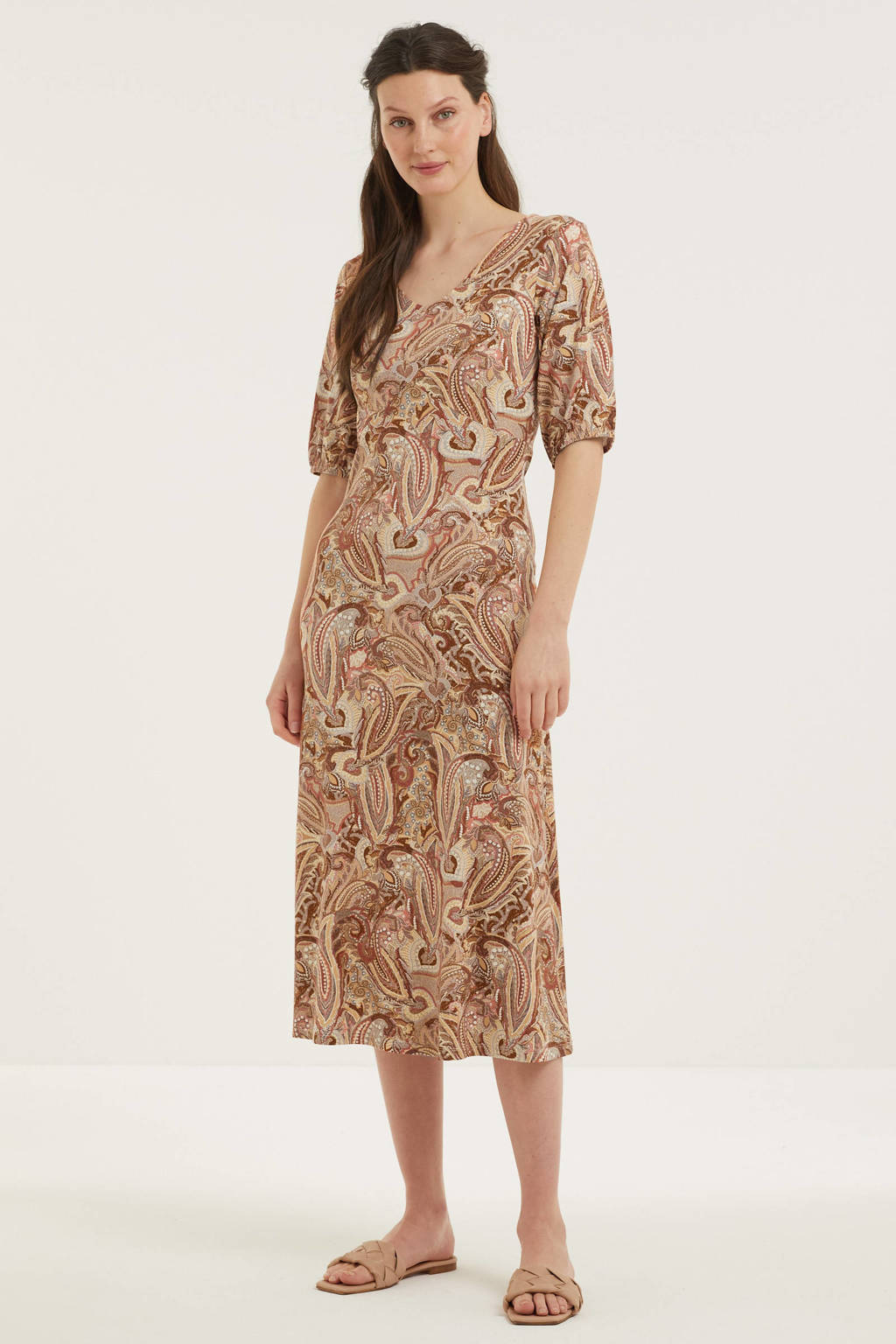 Cream maxi jurk met paisleyprint beige, Beige