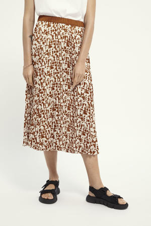 rok met all over print donkerrood/ecru