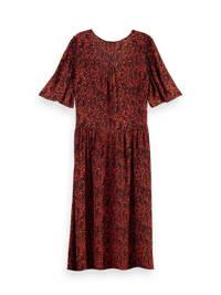 Scotch & Soda jurk met ruches roze, Zwart/rood