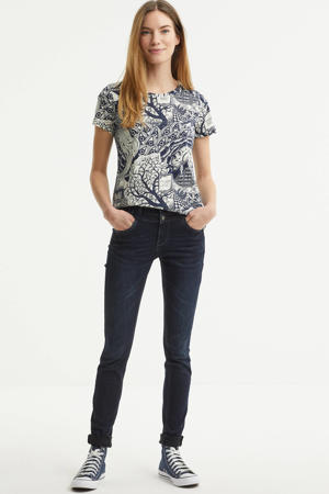 T-shirt met all over print donkerblauw