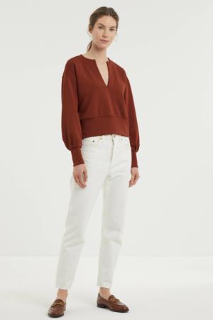 sweater met plooien bruin
