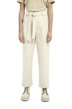 cropped high waist straight fit broek ecru