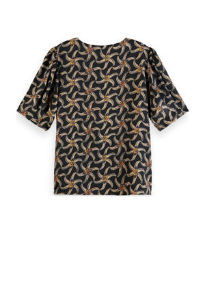 top met all over print en plooien zwart/beige