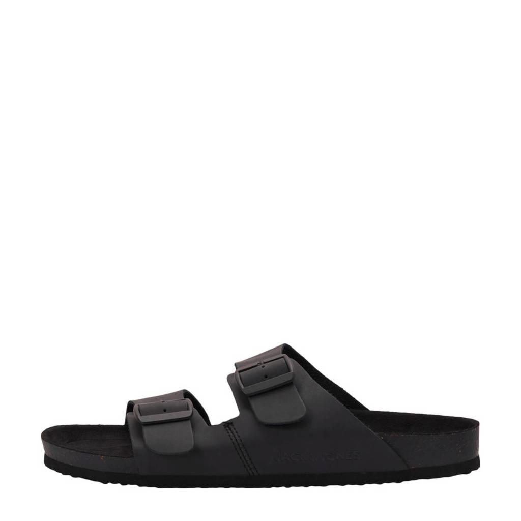 JACK & JONES Roxton  leren slippers zwart, Zwart