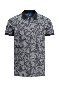 JACK & JONES ORIGINALS regular fit polo Lefo met all over print donkerblauw, Donkerblauw