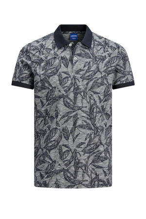 regular fit polo Lefo met all over print donkerblauw