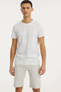 Tom Tailor Denim T-shirt met all over print wit, Wit