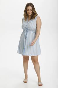 Kaffe Curve gestreepte jurk KCgonille lichtblauw/beige