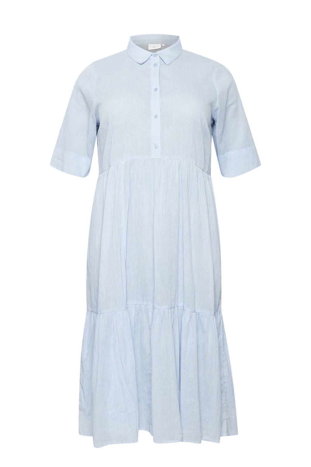 Kaffe Curve A-lijn jurk KCvella met plooien lichtblauw, Lichtblauw