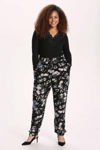 Kaffe Curve gebloemde straight fit broek KCecuda zwart/lichtblauw/donkergroen, Zwart/lichtblauw/donkergroen