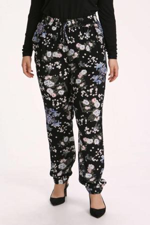 gebloemde straight fit broek KCecuda zwart/lichtblauw/donkergroen