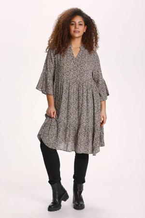 gebloemde A-lijn jurk KCbirne olijfgroen/lichtroze