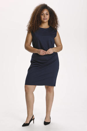 jurk KCina met ruches donkerblauw
