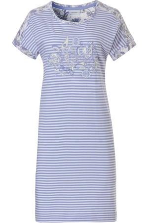 gestreept nachthemd met printopdruk lichtblauw/wit