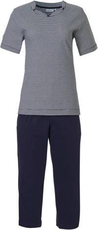 Pastunette pyjama met strepen donkerblauw, Donkerblauw
