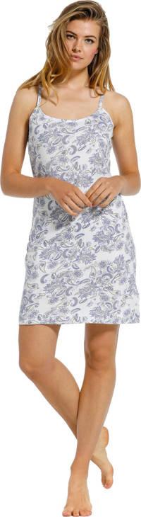 Pastunette slipdress met all over print wit/lichtblauw, Wit/lichtblauw