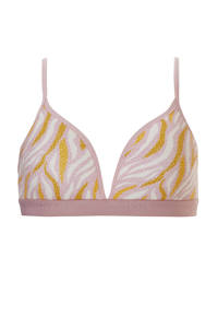 ten Cate Basic teens voorgevormde tienerbh met zebraprint roze, Roze/geel/wit
